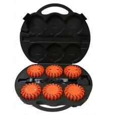 Koffer met 6 knipperende waarschuwingslichten - rotorlichten, LED, oranje lens, 3.7 Volt - Oplaadbaar